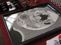 宇宙シリーズ『おくりもの』の原画(左端にはスケッチブックから切り取ったギザギザが)